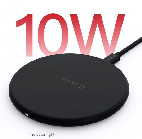 Devia - 10W Wireless Ultra Slim Charging Pad - Black