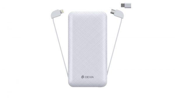 Devia - 10,000mAh LED Powerbank & Lightning, MicroUSB & Type C Cable - White