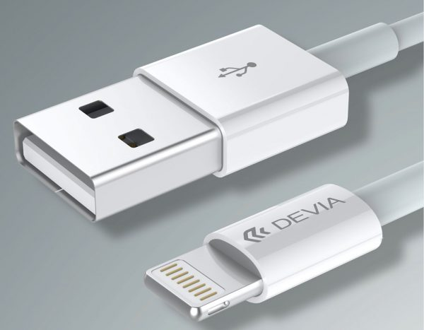 Devia - 1m (2.4A) USB to MFi Lightning Cable - White