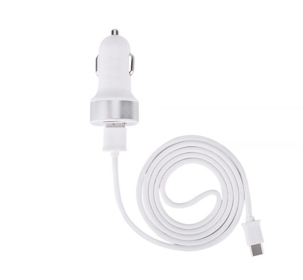 Devia - 2.1A Dual USB Port Car Adapter & 1m Type C Cable - White