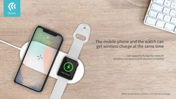 Devia - 12W Dual Wireless Charging Pad for Apple iPhone & Watch - White